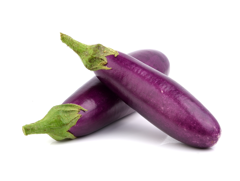 Premier Produce eggplants on white background image